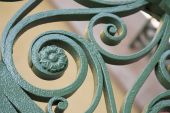 stock photo of scrollwork  - Scrollwork in Charleston South Carolina shows intricate detail - JPG