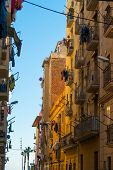 Beautiful streets of Barceloneta neighbourhood in Barcelona