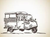 pic of rickshaw  - Hand drawn motorcycle rickshaw Vector - JPG