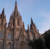 Cathedral of the Holy Cross and Saint Eulalia on sunset