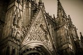 Toned picture of cathedral of the Holy Cross and Saint Eulalia