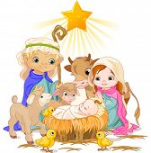 stock photo of calf  - Christmas nativity scene with holy family - JPG