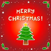 Merry Christmas Message With A Christmas Tree