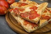 Focaccia with tomatoes