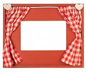 Curtain Adorned Photo Frame On White Background