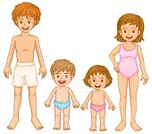 Illustration of a family in their swimming attire on a white background