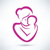 stock photo of fragile sign  - mom and baby vector icon - JPG