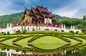 Traditional Thai Architecture In The Lanna Style , Royal Pavilion (ho Kum Luang) At Royal Flora Expo