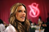 NEW YORK NY - NOVEMBER 13: Alessandra Ambrosio poses backstage