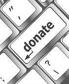 Donate Button On Computer Keyboard Pc Key