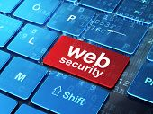 Protection concept: Web Security on computer keyboard background