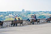 Tourists are observing New Belgrade