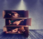 a woman in a box