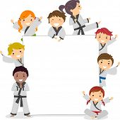 Illustration of Kids Wearing Karate Uniforms Surrounding a Blank Board