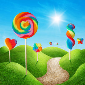 foto of lolli  - Fantasy sweet candy land with lollies - JPG