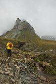 Svalbard, Norway - July 2013: Hiking in Alkhornet, Svalbard