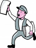 Newsboy Selling Newspaper Isolated Cartoon