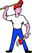 Plumber Wield Wrench Plunger Isolated Cartoon