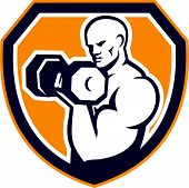 picture of strongman  - Illustration of a strongman muscular guy pumping lifting dumbbells weight training viewed from front set inside shield crest shape done in retro style - JPG
