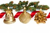 Lit Golden Christmas Candels With Red Ribbon