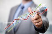 Businessman pointing to growth in a line graph showing business success poster