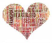 Heartbleed Concept With Tag Cloud Forming The Heart Shape With Binary Code Running Over It