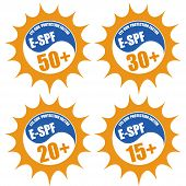 Set Of Stamps With Eye Sun Protection Factor ( E-spf) 50+, 20+, 30+, 15+