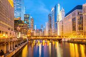 pic of willy  - City of Chicago downtown and River with bridges at dusk - JPG