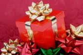 Red Christmas Gift Box Gold Ribbon Colorful Bows