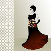 Woman in gown with flowers