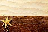 Concept of sumer holiday on grunge wooden planks with seashells and star.