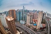 Modern City With Fisheye View In Shanghai