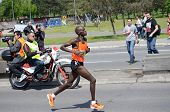 BELGRADE, SERBIA - APRIL 27: Bernard Kipkorir Talam runs on April 27, 2014 in Belgrade marathon. Bernard Kipkorir Talam wins after running 42 km and 195 meters in 2 hours, 14 minutes and 35 seconds