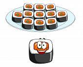 Set of cartoon sushi cons