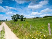 Beautiful French Rural Landscape In The Summer With A Dirtroad And Wild Flowers
