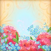 Vector retro flowers roses background