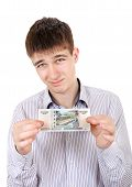 Teenager With Russian Bank Note