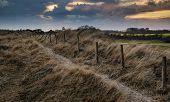 Blue Sky Late Summer Beach Sunset Landscape