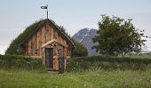 Iceland. Traditional Icelandic Wooden House. North Iceland