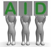 Aid Banners Shows First Aid Assistance And Support