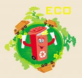 Recycling Red Bin With Papers,  Ecology Concept With Landscape And Garbage