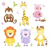 image of baby pig  - Cute vector cartoon animal set with both wildlife and farm animals including a sheep  cow  pig  monkey  giraffe and lion suitable for kids  isolated on white - JPG