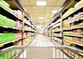 a blurred shot of an isle in a supermarket or grocery store shop