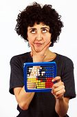 Woman calculates with Abacus