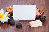 Blank Paper Surrounded With Spa Products