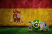 Brazil world cup 2014 against spain flag in grunge effect