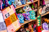 image of playa del carmen  - Colorful skulls souvenirs in Playa del Carmen Mexico - JPG