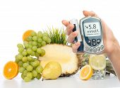Diabetes Concept Glucose Meter Healthy Organic Food