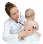 Nurse Auscultating Child Baby Patient Heart With Stethoscope