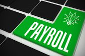 stock photo of payroll  - The word payroll and idea and innovation graphic on black keyboard with green key - JPG